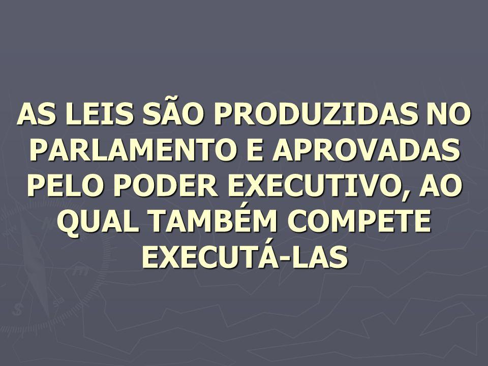AS LEIS SÃO PRODUZIDAS NO PARLAMENTO E APROVADAS PELO PODER EXECUTIVO, AO QUAL TAMBÉM COMPETE EXECUTÁ-LAS