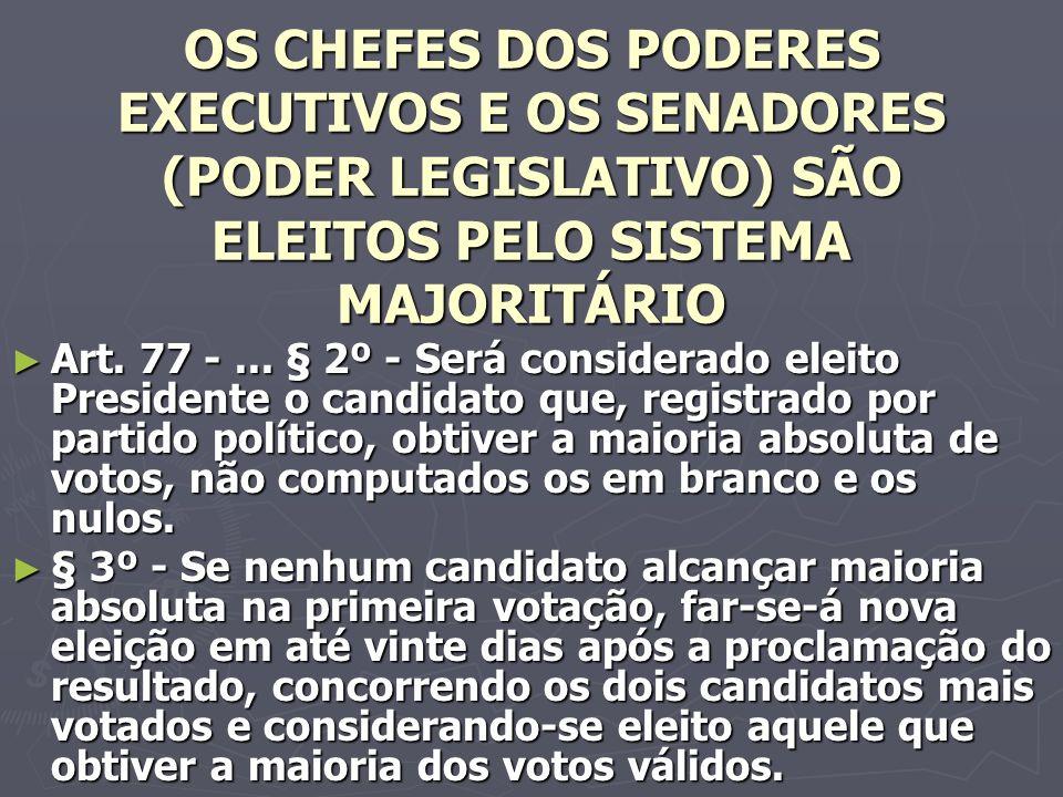 OS CHEFES DOS PODERES EXECUTIVOS E OS SENADORES (PODER LEGISLATIVO) SÃO ELEITOS PELO SISTEMA MAJORITÁRIO Art.