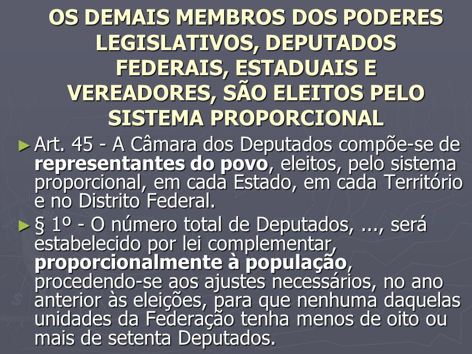 OS DEMAIS MEMBROS DOS PODERES LEGISLATIVOS, DEPUTADOS FEDERAIS, ESTADUAIS E VEREADORES, SÃO ELEITOS PELO SISTEMA PROPORCIONAL Art.