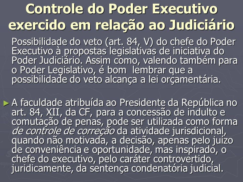 Controle do Poder Executivo exercido em relação ao Judiciário Possibilidade do veto (art.