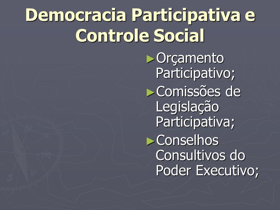 Democracia Participativa e Controle Social Orçamento Participativo; Comissões de Legislação Participativa; Conselhos Consultivos do Poder Executivo;