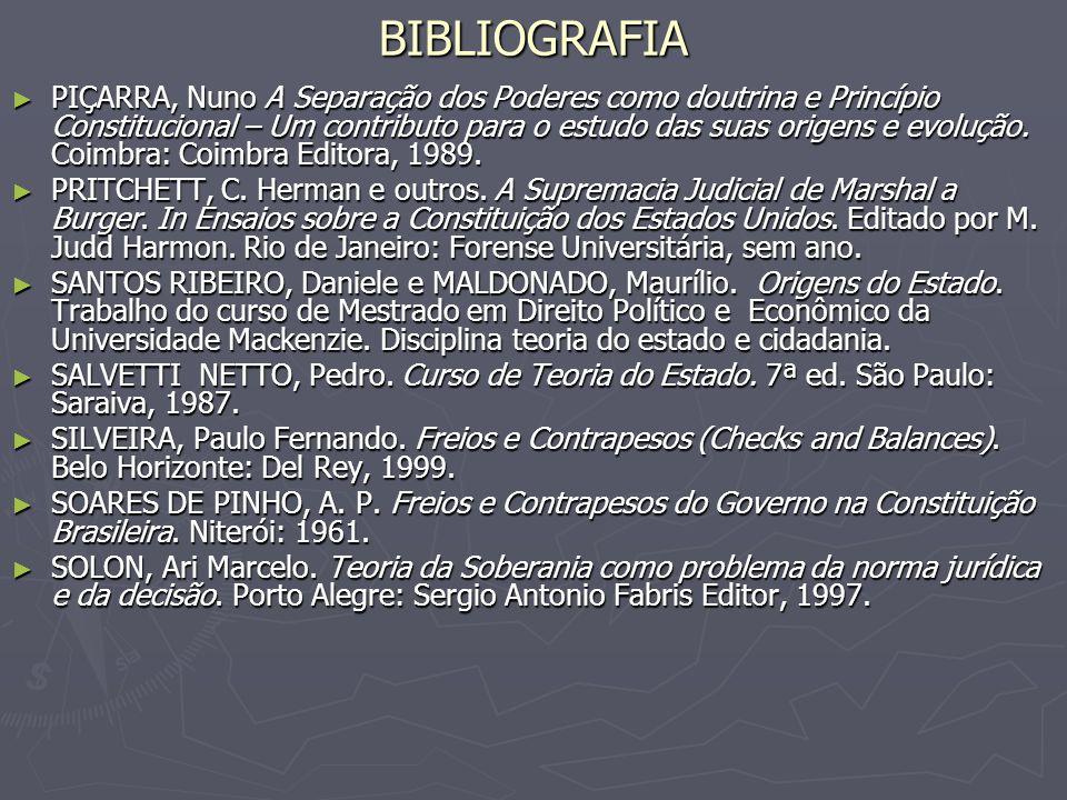 BIBLIOGRAFIA PIÇARRA, Nuno A Separação dos Poderes como doutrina e Princípio Constitucional – Um contributo para o estudo das suas origens e evolução.
