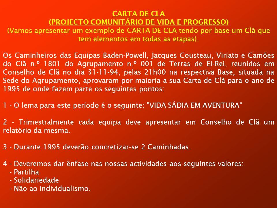 CARTA DE CLA (PROJECTO COMUNITÁRIO DE VIDA E PROGRESSO) (Vamos apresentar um exemplo de CARTA DE CLA tendo por base um Clã que tem elementos em todas