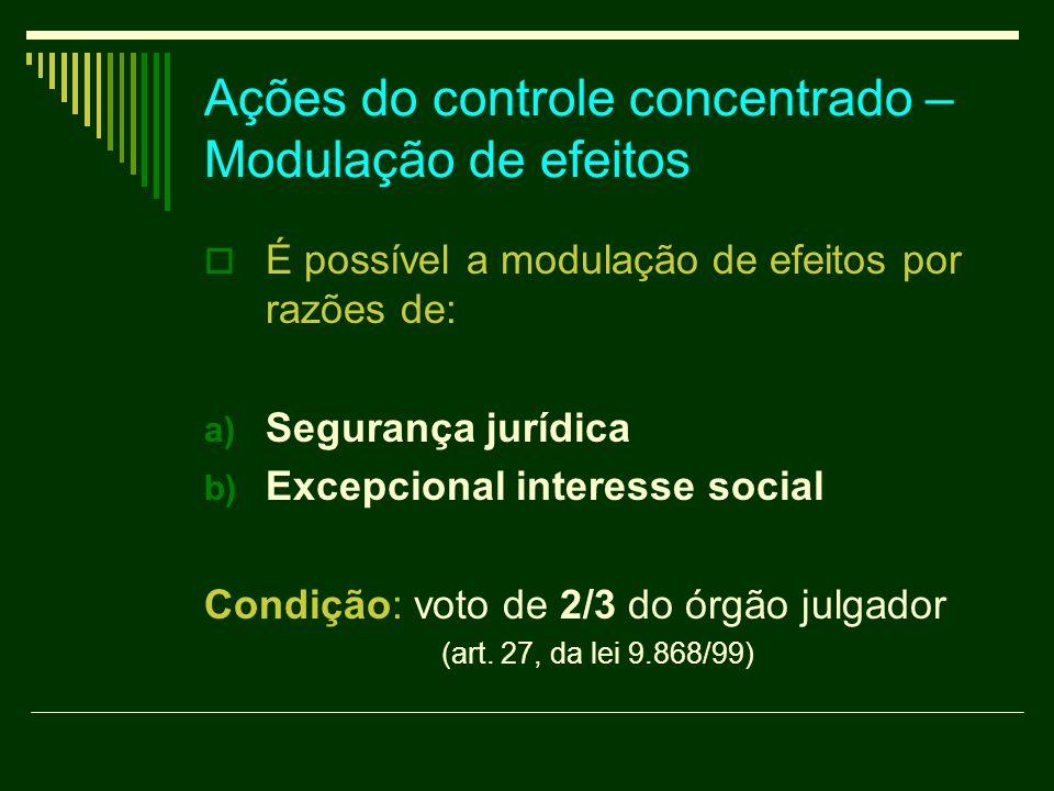 Ações do controle concentrado – Modulação de efeitos É possível a modulação de efeitos por razões de: a) Segurança jurídica b) Excepcional interesse s