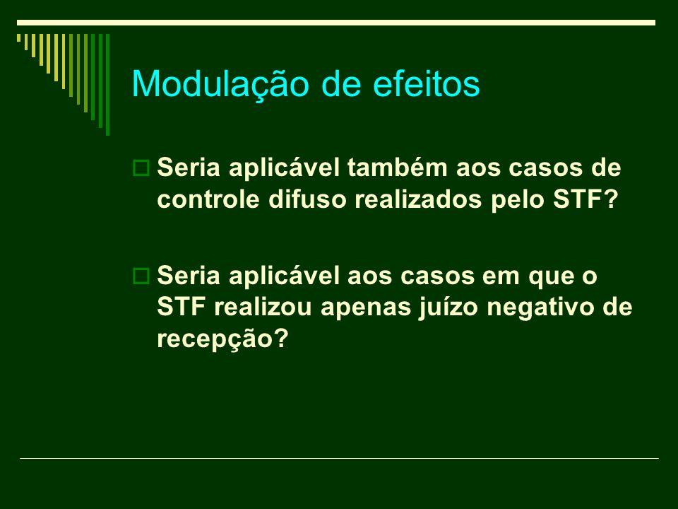 Modulação de efeitos Seria aplicável também aos casos de controle difuso realizados pelo STF? Seria aplicável aos casos em que o STF realizou apenas j