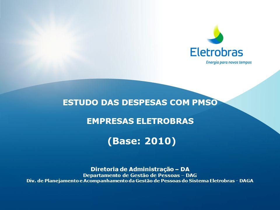 ESTUDO DAS DESPESAS COM PMSO EMPRESAS ELETROBRAS (Base: 2010) Diretoria de Administração – DA Departamento de Gestão de Pessoas – DAG Div.