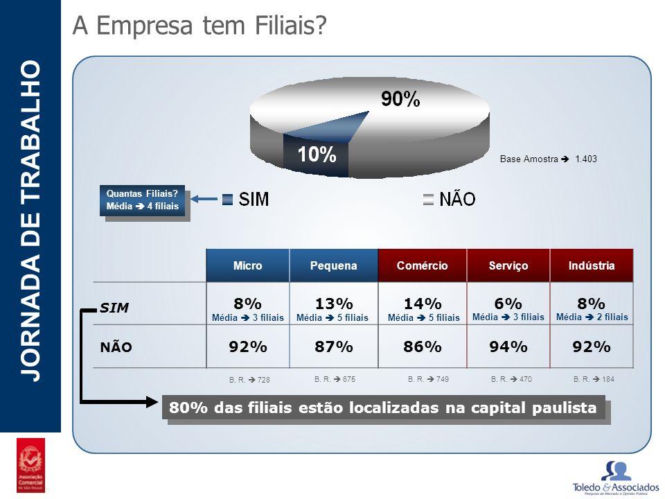 POTENCIAL - LUZIA JORNADA DE TRABALHO A Empresa tem Filiais? Base Amostra 1.403 MicroPequenaComércioServiçoIndústria SIM 8%13%14%6%8% NÃO 92%87%86%94%