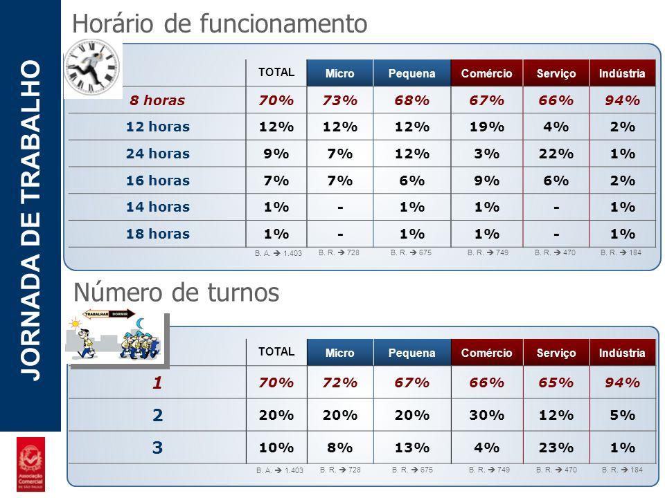 POTENCIAL - LUZIA JORNADA DE TRABALHO Horário de funcionamento TOTAL MicroPequenaComércioServiçoIndústria 8 horas 70%73%68%67%66%94% 12 horas 12% 19%4