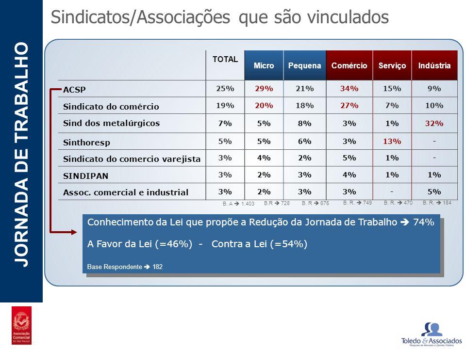 POTENCIAL - LUZIA JORNADA DE TRABALHO Sindicatos/Associações que são vinculados TOTAL MicroPequenaComércioServiçoIndústria ACSP 25%29%21%34%15%9% Sind