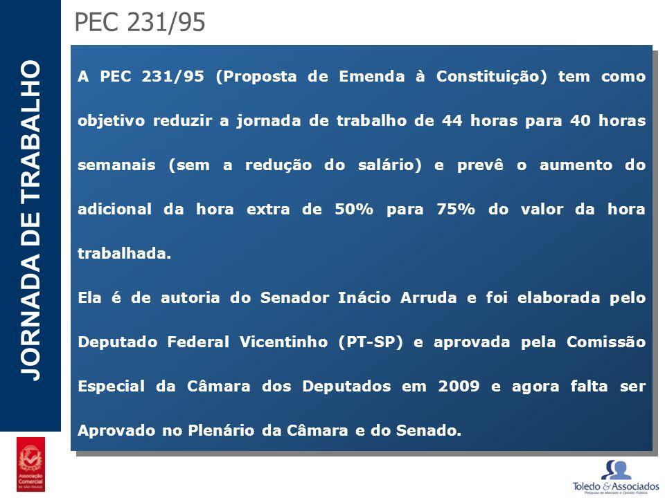 POTENCIAL - LUZIA JORNADA DE TRABALHO A PEC 231/95 (Proposta de Emenda à Constituição) tem como objetivo reduzir a jornada de trabalho de 44 horas par