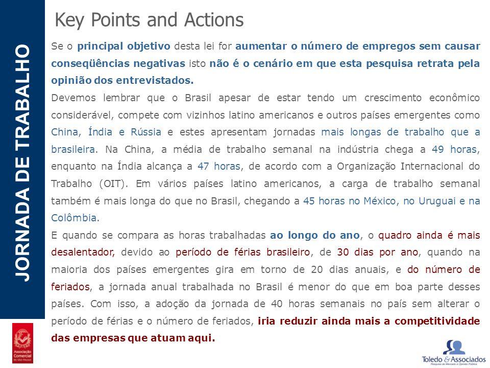 POTENCIAL - LUZIA JORNADA DE TRABALHO Key Points and Actions Se o principal objetivo desta lei for aumentar o número de empregos sem causar conseqüênc