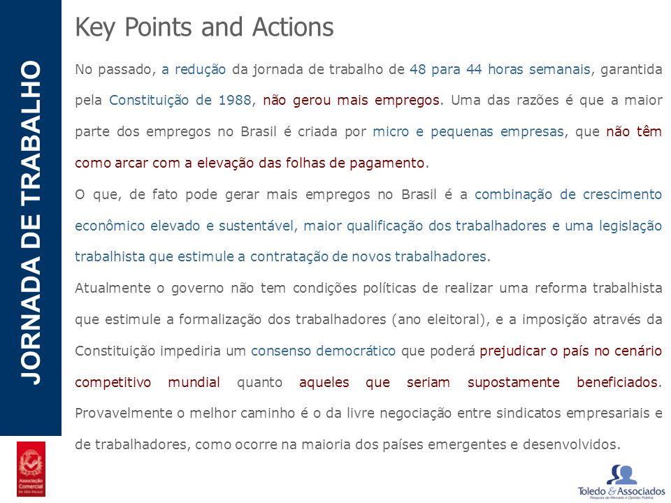 POTENCIAL - LUZIA JORNADA DE TRABALHO Key Points and Actions No passado, a redução da jornada de trabalho de 48 para 44 horas semanais, garantida pela