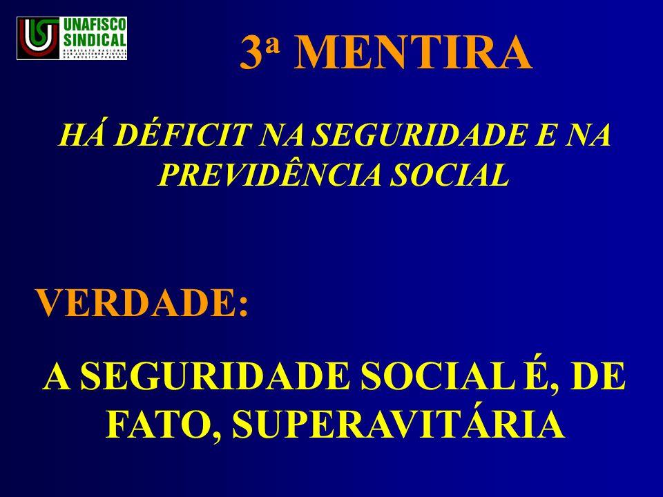 3 a MENTIRA HÁ DÉFICIT NA SEGURIDADE E NA PREVIDÊNCIA SOCIAL VERDADE: A SEGURIDADE SOCIAL É, DE FATO, SUPERAVITÁRIA
