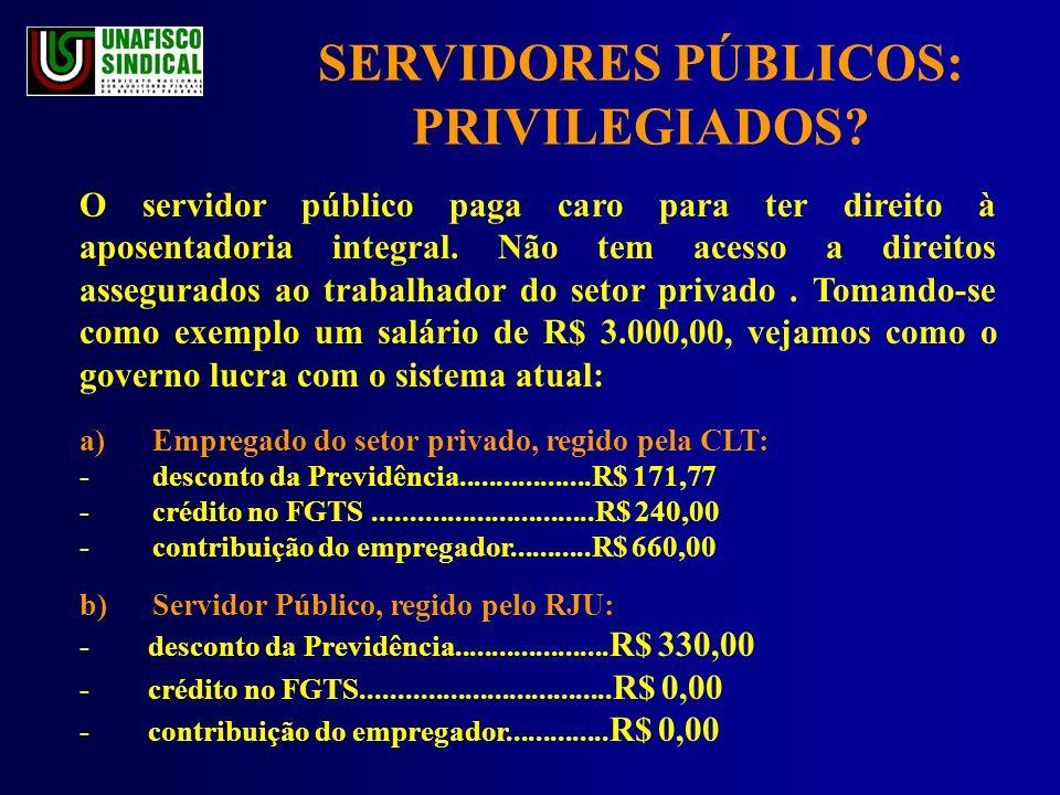 SERVIDORES PÚBLICOS: PRIVILEGIADOS.