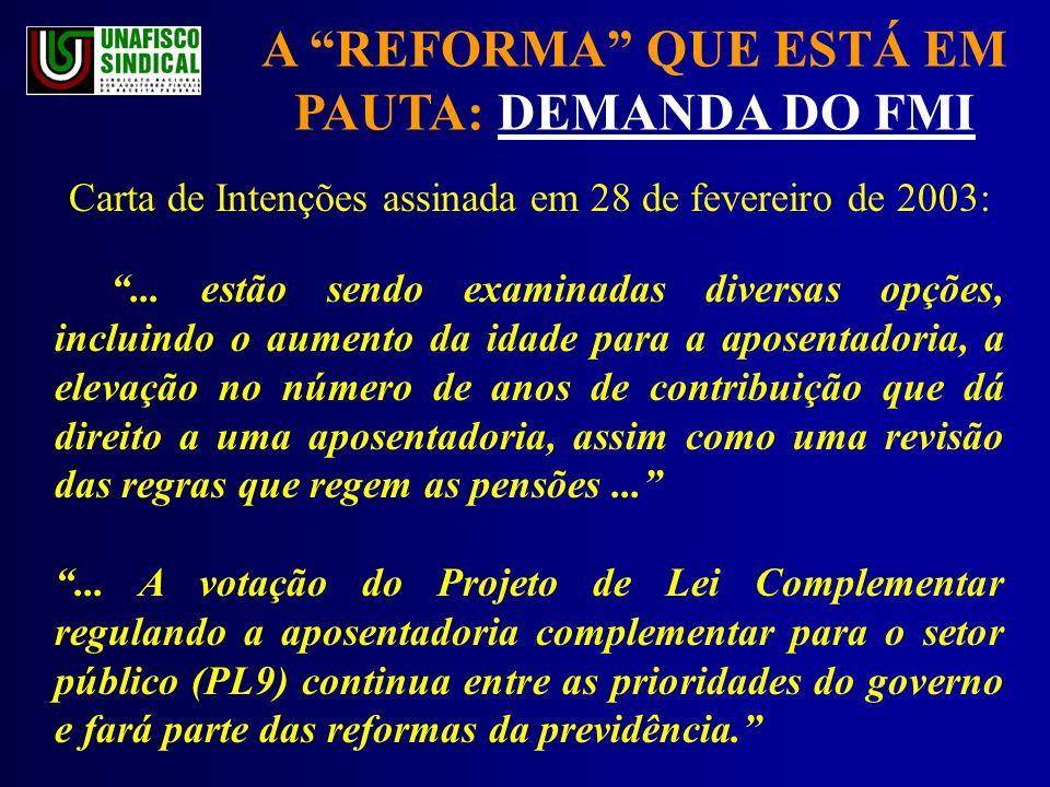 A REFORMA QUE ESTÁ EM PAUTA: DEMANDA DO FMI Carta de Intenções assinada em 28 de fevereiro de 2003:...