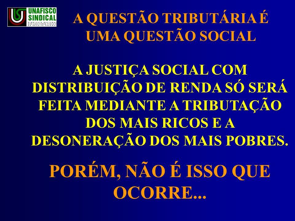 A JUSTIÇA SOCIAL COM DISTRIBUIÇÃO DE RENDA SÓ SERÁ FEITA MEDIANTE A TRIBUTAÇÃO DOS MAIS RICOS E A DESONERAÇÃO DOS MAIS POBRES.
