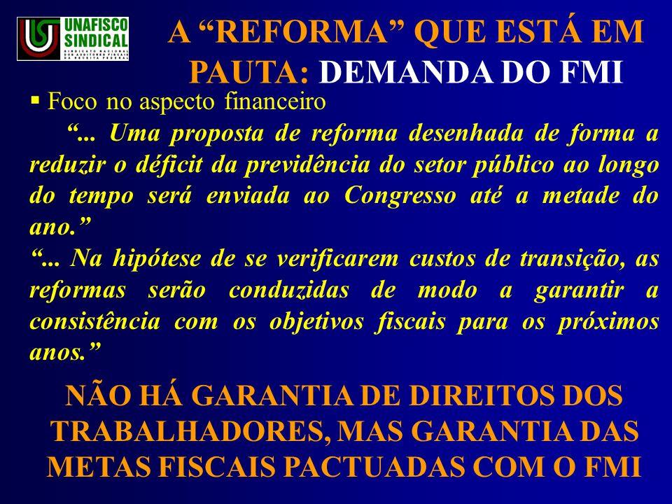 A REFORMA QUE ESTÁ EM PAUTA: DEMANDA DO FMI Foco no aspecto financeiro...