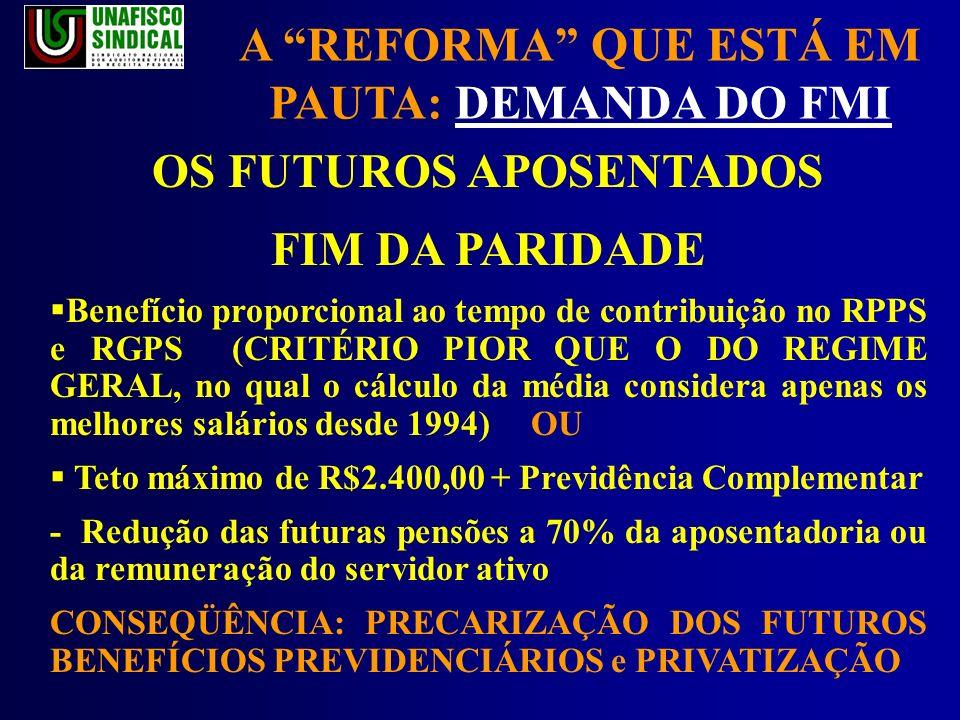 A REFORMA QUE ESTÁ EM PAUTA: DEMANDA DO FMI OS FUTUROS APOSENTADOS FIM DA PARIDADE Benefício proporcional ao tempo de contribuição no RPPS e RGPS (CRITÉRIO PIOR QUE O DO REGIME GERAL, no qual o cálculo da média considera apenas os melhores salários desde 1994) OU Teto máximo de R$2.400,00 + Previdência Complementar - Redução das futuras pensões a 70% da aposentadoria ou da remuneração do servidor ativo CONSEQÜÊNCIA: PRECARIZAÇÃO DOS FUTUROS BENEFÍCIOS PREVIDENCIÁRIOS e PRIVATIZAÇÃO