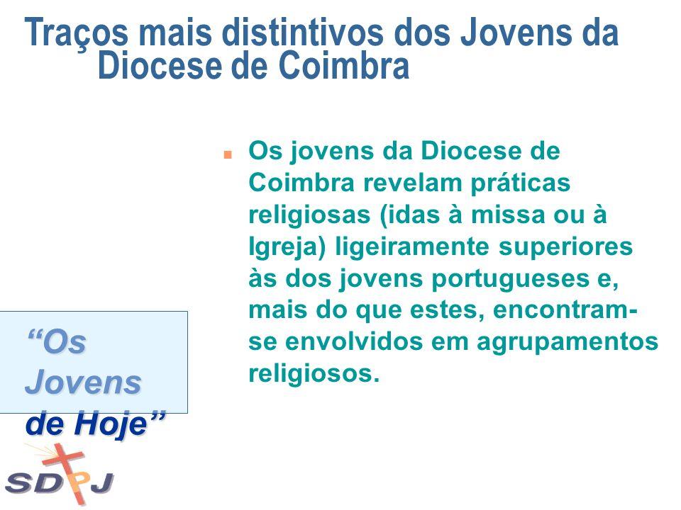 Os Jovens de Hoje n Os jovens da Diocese de Coimbra revelam práticas religiosas (idas à missa ou à Igreja) ligeiramente superiores às dos jovens portu