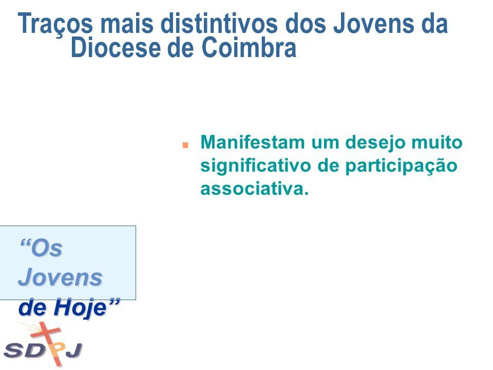 Os Jovens de Hoje n Manifestam um desejo muito significativo de participação associativa. Traços mais distintivos dos Jovens da Diocese de Coimbra
