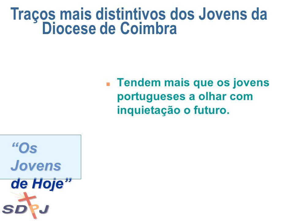 Os Jovens de Hoje n Tendem mais que os jovens portugueses a olhar com inquietação o futuro. Traços mais distintivos dos Jovens da Diocese de Coimbra
