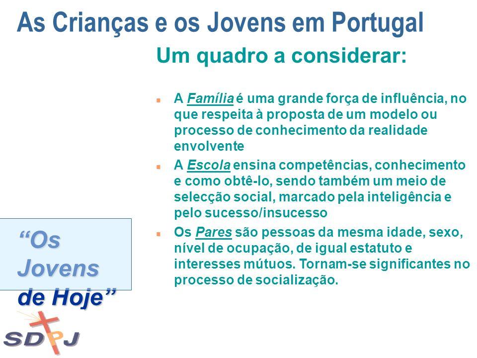 Os Jovens de Hoje As Crianças e os Jovens em Portugal Um quadro a considerar: n A Família é uma grande força de influência, no que respeita à proposta