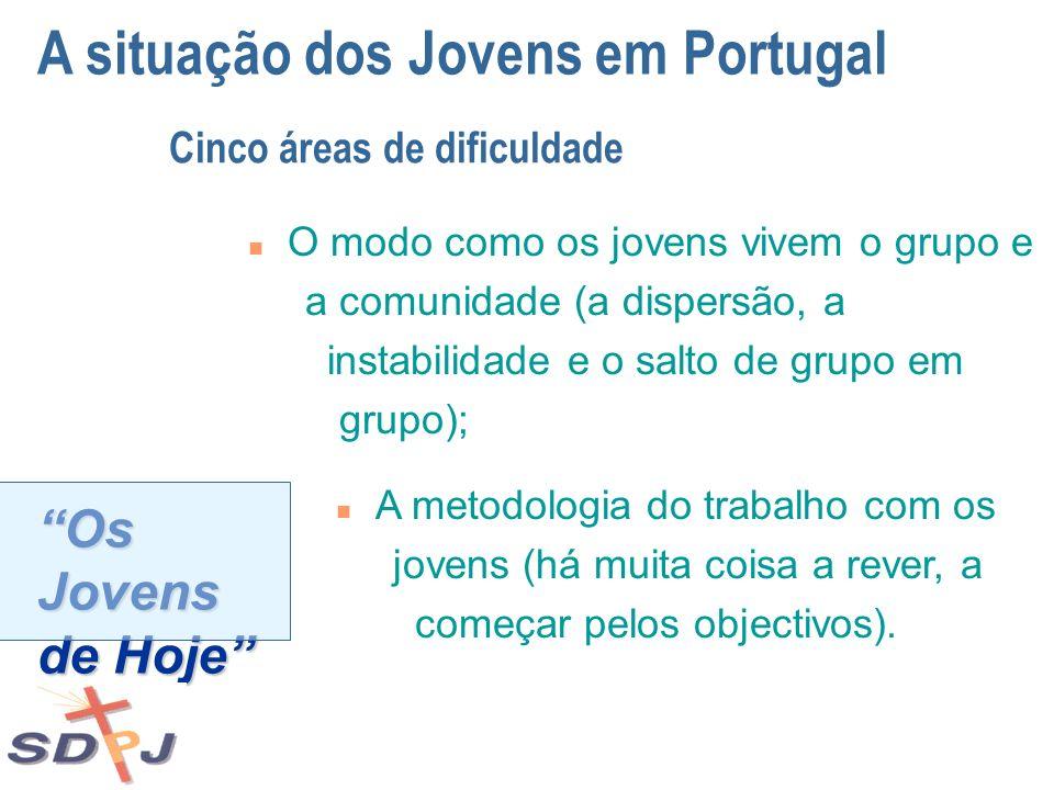 Os Jovens de Hoje A situação dos Jovens em Portugal Cinco áreas de dificuldade n O modo como os jovens vivem o grupo e a comunidade (a dispersão, a in
