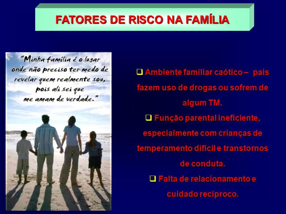 Ambiente familiar caótico – pais fazem uso de drogas ou sofrem de algum TM. Ambiente familiar caótico – pais fazem uso de drogas ou sofrem de algum TM