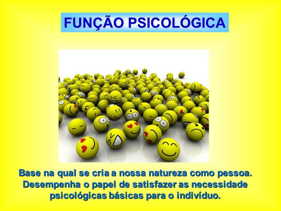 FUNÇÃO PSICOLÓGICA Base na qual se cria a nossa natureza como pessoa. Desempenha o papel de satisfazer as necessidade psicológicas básicas para o indi