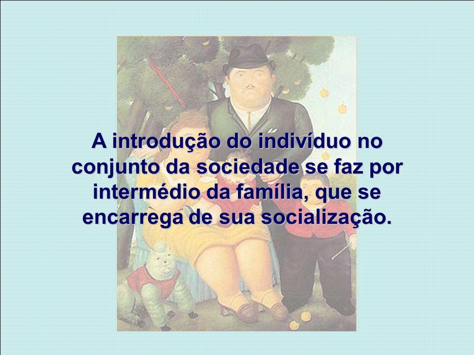 A introdução do indivíduo no conjunto da sociedade se faz por intermédio da família, que se encarrega de sua socialização.