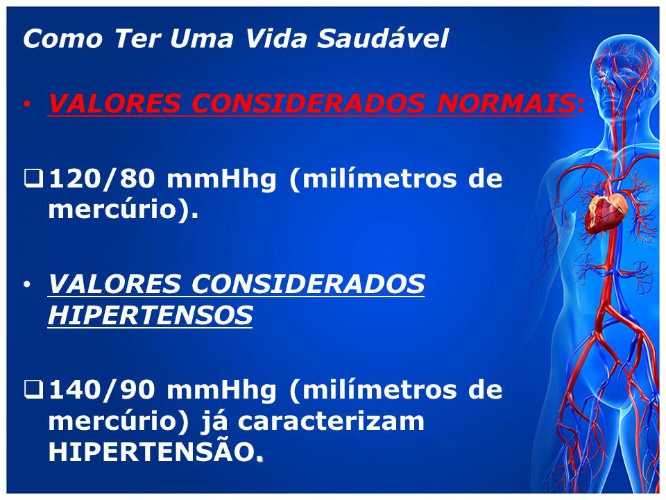 Como Ter Uma Vida Saudável VALORES CONSIDERADOS NORMAIS: 120/80 mmHhg (milímetros de mercúrio).
