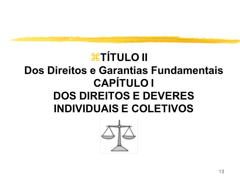 13 zTÍTULO II Dos Direitos e Garantias Fundamentais CAPÍTULO I DOS DIREITOS E DEVERES INDIVIDUAIS E COLETIVOS
