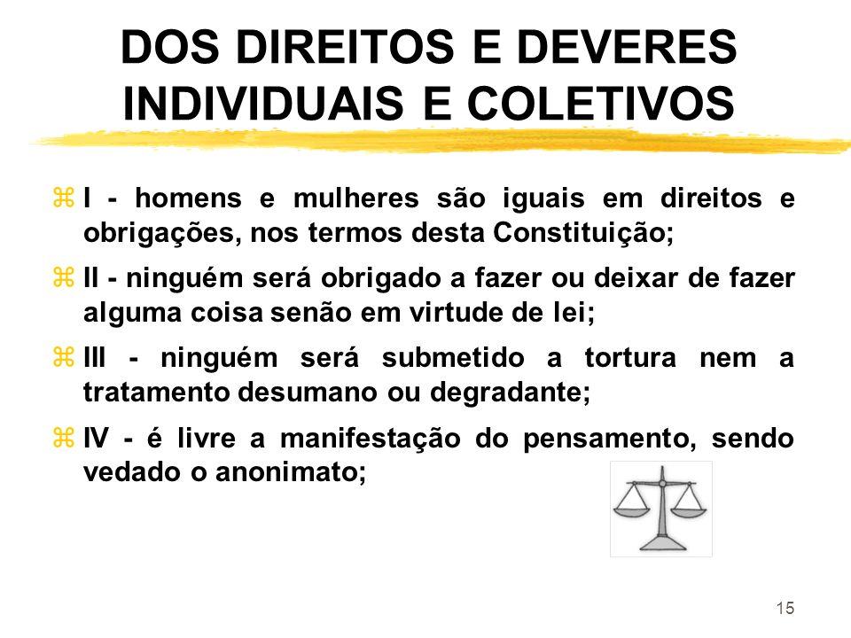 15 DOS DIREITOS E DEVERES INDIVIDUAIS E COLETIVOS zI - homens e mulheres são iguais em direitos e obrigações, nos termos desta Constituição; zII - nin