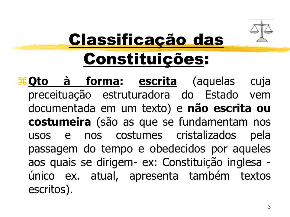 3 Classificação das Constituições: zQto à forma: escrita (aquelas cuja preceituação estruturadora do Estado vem documentada em um texto) e não escrita