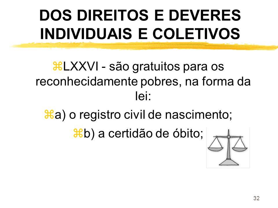 32 DOS DIREITOS E DEVERES INDIVIDUAIS E COLETIVOS zLXXVI - são gratuitos para os reconhecidamente pobres, na forma da lei: za) o registro civil de nas