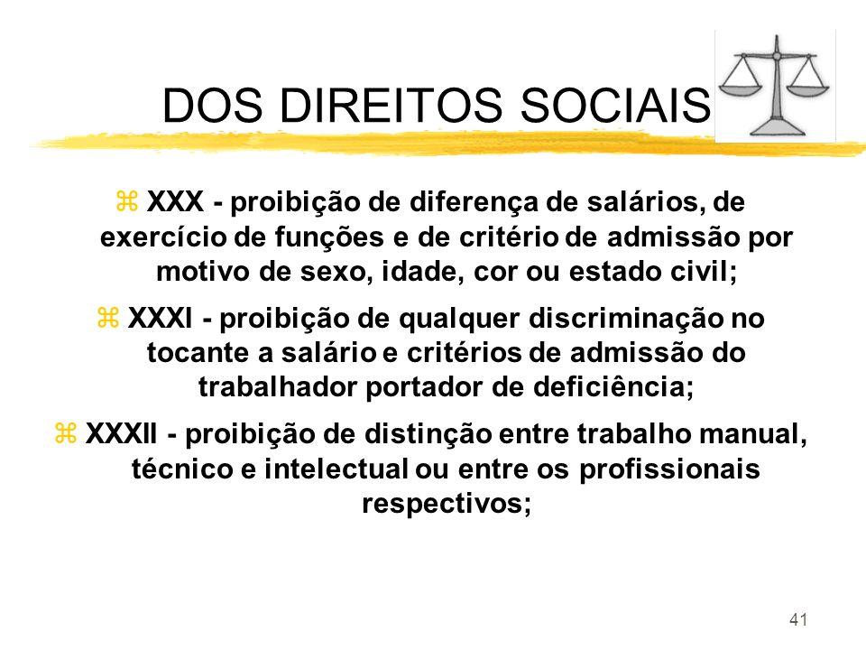 41 DOS DIREITOS SOCIAIS zXXX - proibição de diferença de salários, de exercício de funções e de critério de admissão por motivo de sexo, idade, cor ou
