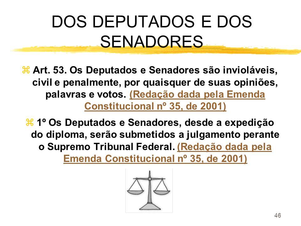 46 DOS DEPUTADOS E DOS SENADORES zArt. 53. Os Deputados e Senadores são invioláveis, civil e penalmente, por quaisquer de suas opiniões, palavras e vo
