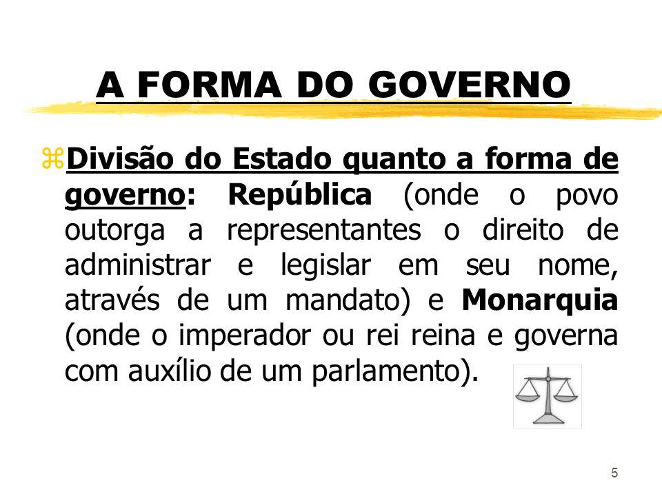 5 A FORMA DO GOVERNO zDivisão do Estado quanto a forma de governo: República (onde o povo outorga a representantes o direito de administrar e legislar
