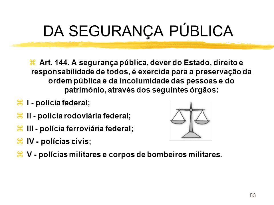 53 DA SEGURANÇA PÚBLICA zArt. 144. A segurança pública, dever do Estado, direito e responsabilidade de todos, é exercida para a preservação da ordem p