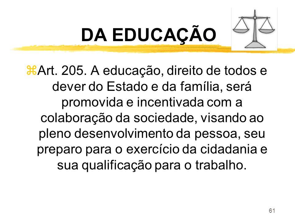 61 DA EDUCAÇÃO zArt. 205. A educação, direito de todos e dever do Estado e da família, será promovida e incentivada com a colaboração da sociedade, vi