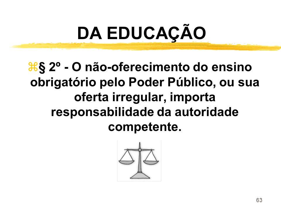 63 DA EDUCAÇÃO z§ 2º - O não-oferecimento do ensino obrigatório pelo Poder Público, ou sua oferta irregular, importa responsabilidade da autoridade co