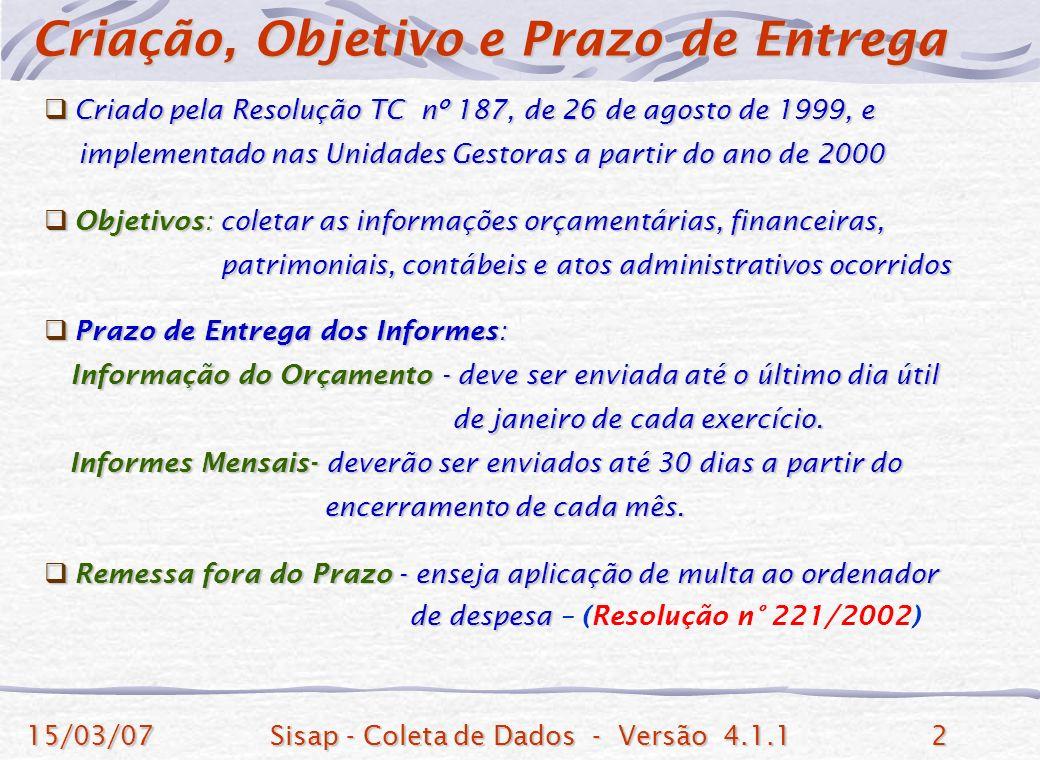15/03/07Sisap - Coleta de Dados - Versão 4.1.12 Criado pela Resolução TC nº 187, de 26 de agosto de 1999, e Criado pela Resolução TC nº 187, de 26 de agosto de 1999, e implementado nas Unidades Gestoras a partir do ano de 2000 implementado nas Unidades Gestoras a partir do ano de 2000 Objetivos: coletar as informações orçamentárias, financeiras, Objetivos: coletar as informações orçamentárias, financeiras, patrimoniais, contábeis e atos administrativos ocorridos patrimoniais, contábeis e atos administrativos ocorridos Prazo de Entrega dos Informes: Prazo de Entrega dos Informes: Informação do Orçamento - deve ser enviada até o último dia útil Informação do Orçamento - deve ser enviada até o último dia útil de janeiro de cada exercício.