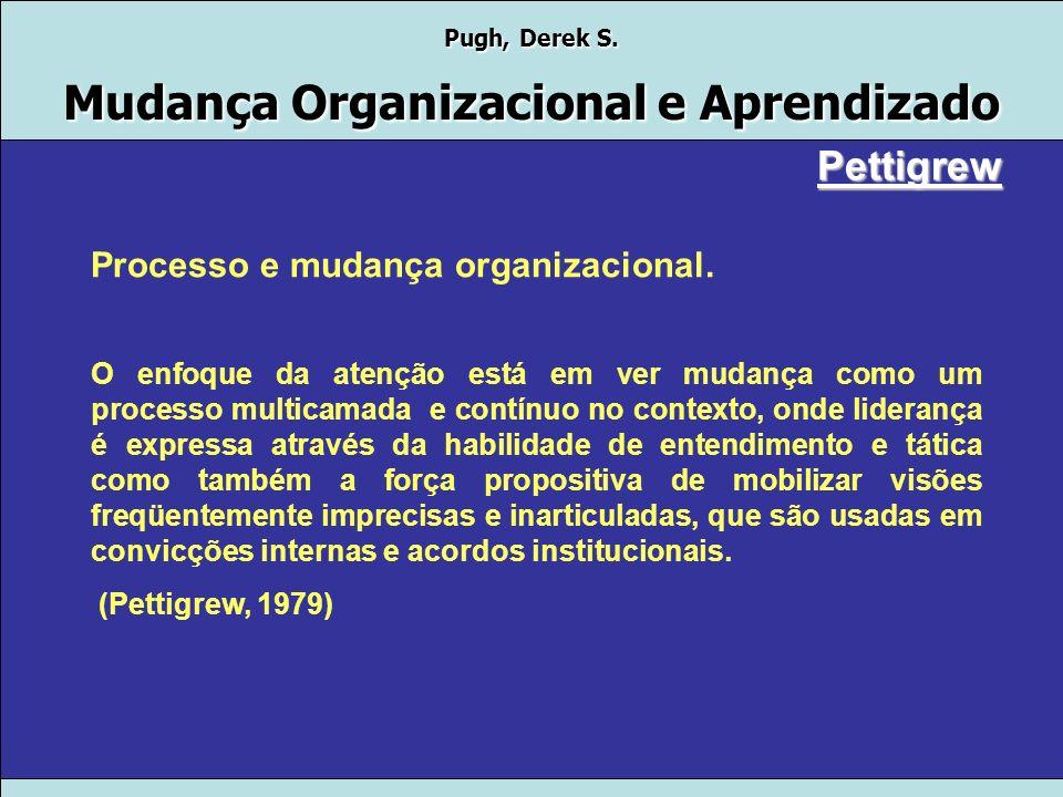 Pugh, Derek S. Mudança Organizacional e Aprendizado Pettigrew Processo e mudança organizacional. Sugere uma análise contextualista profunda em Níveis