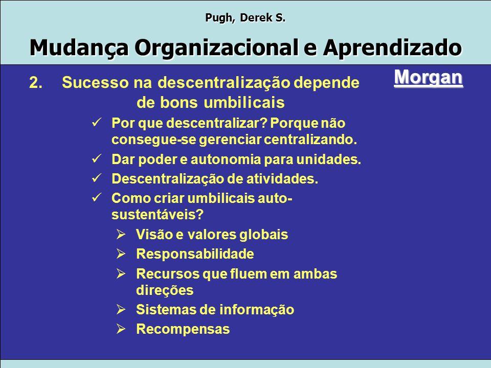 Pugh, Derek S. Mudança Organizacional e Aprendizado Morgan Motivos para a utilização da metáfora: 1.Quebra do paradigma do grande vaso central Crescer