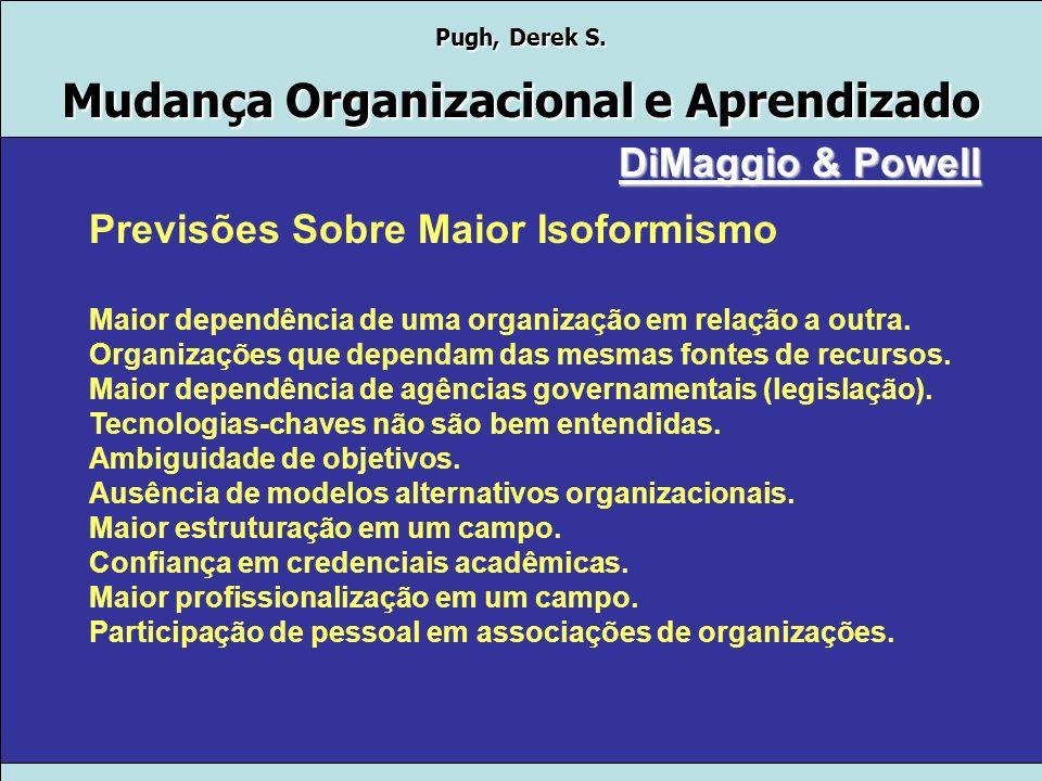 Pugh, Derek S. Mudança Organizacional e Aprendizado Mecanismos de Isomorfismo Institucional COERCITIVO: pressões de organizações sobre outras. decorrê