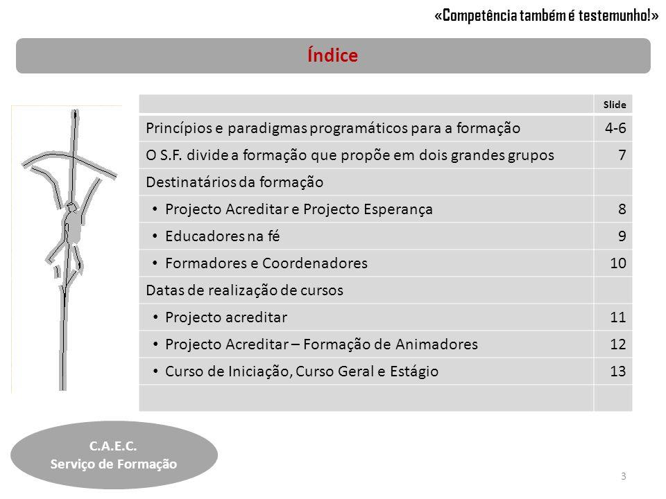 Índice C.A.E.C. Serviço de Formação 3 «Competência também é testemunho!» Slide Princípios e paradigmas programáticos para a formação4-6 O S.F. divide