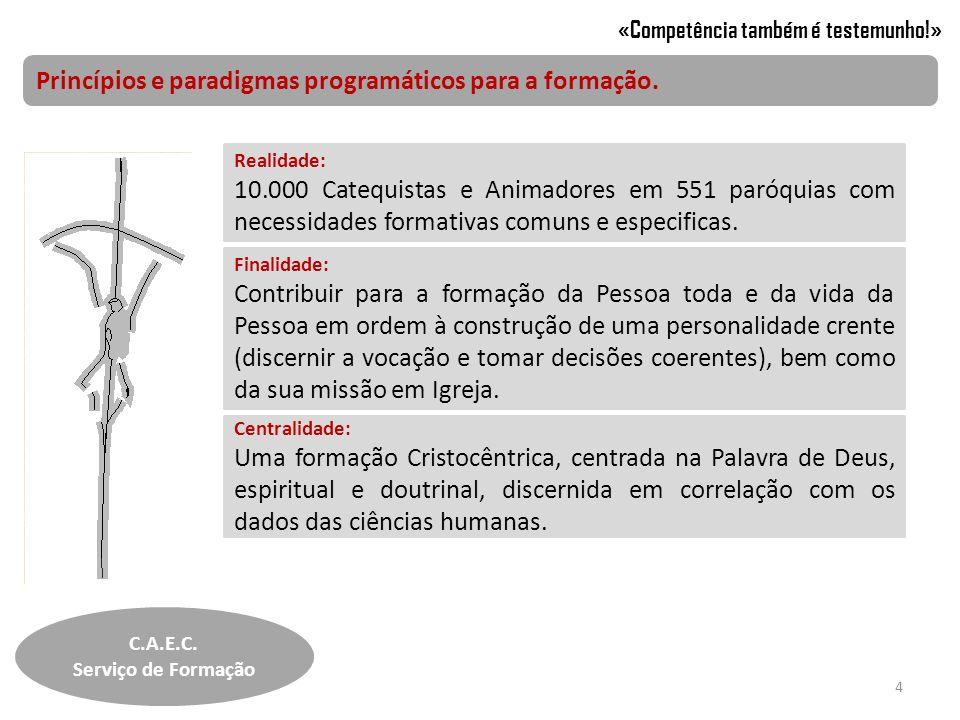 Princípios e paradigmas programáticos para a formação. Realidade: 10.000 Catequistas e Animadores em 551 paróquias com necessidades formativas comuns