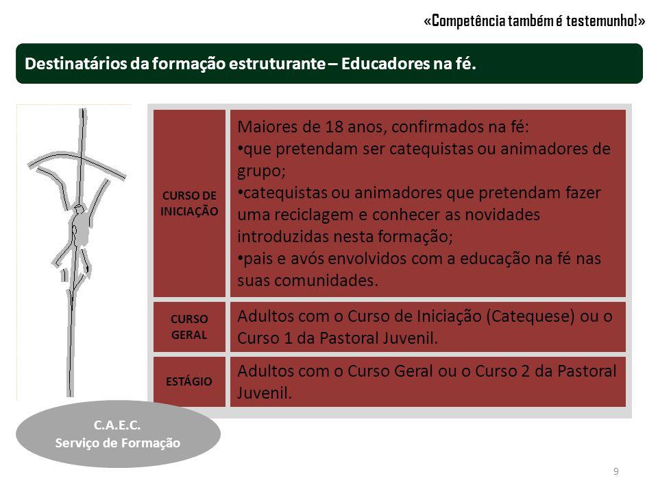 Destinatários das formação estruturante – Formadores e Coordenadores.