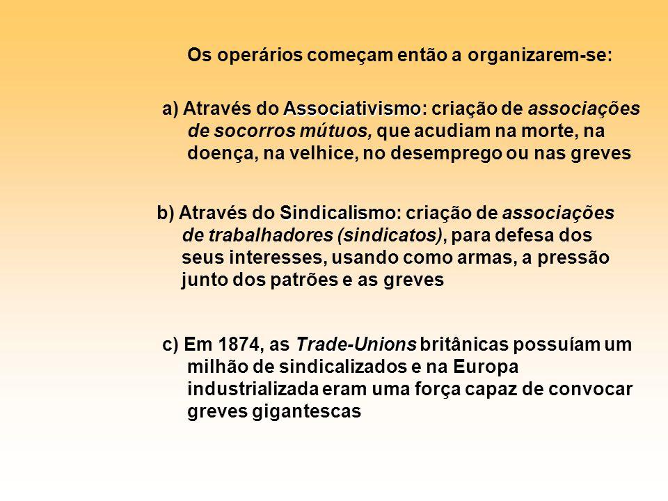 Os operários começam então a organizarem-se: a) Através do A AA Associativismo: criação de associações de socorros mútuos, que acudiam na morte, na do