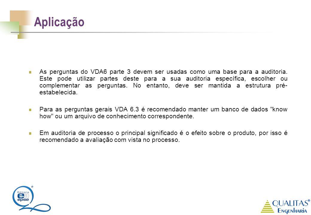 Aplicação As perguntas do VDA6 parte 3 devem ser usadas como uma base para a auditoria. Este pode utilizar partes deste para a sua auditoria específic